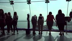 Tourists visit spinnaker tower building, portsmouth, england Stock Footage