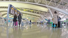 4k hyperlapse video of travelling through the departure hall of an airport Stock Footage