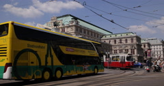Ultra HD 4K Vienna Busy Road People Commuting Public Transportation Rush Hour Stock Footage