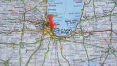 Chicago on a map - stock footage