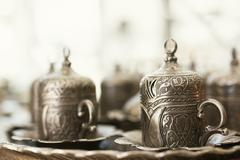 traditional turkish coffee on table at cafe - stock photo