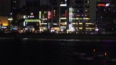 Nighttime Busy Gwangalli Beach Busan South Korea 4K Stock Footage