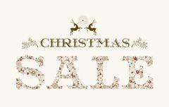vintage christmas sale season colorful reindeer poster design - stock illustration