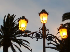 Lamp against the sky and palm trees. Related clips have in my portfolio in HD. Stock Footage