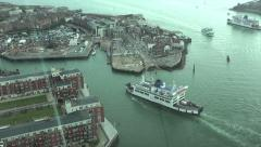 wightlink ferry arrives at portsmouth from isle of wight, england - stock footage