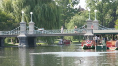 Foot Bridge In The Historic Boston Public Gardens With Swan Boats Stock Footage
