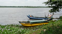 Small boats in a lake in Sri Lanka Stock Footage