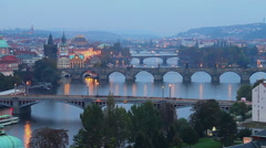 Prague bridges day to night time-lapse, Czech city view Stock Footage