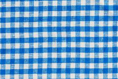natural plaid fabric abstract background texture, blue and white colors - stock photo
