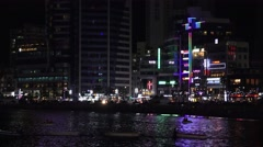 Nighttime Busy Skyline Waterfront Gwangalli Beach Busan South Korea 2 4K Stock Footage