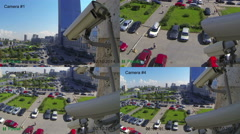 Stock Video Footage of Video surveillance cameras on the wall, view from security console, CCTV, 4k