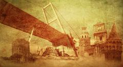 Istanbul turkey and historic buildings Stock Illustration