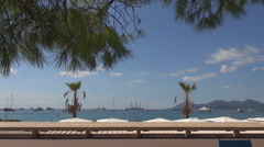 Panoramic view Cannes port luxury yacht bay seaside view sunny day famous french Stock Footage