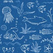 sealife hand drawn seamless pattern - stock illustration