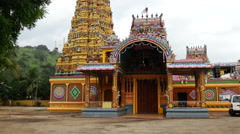 Tilt from the Sri Muthumariamman Thevasthanam hindu tempel Stock Footage