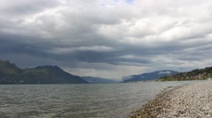 Lake lac du Bourget. The largest lake in south-eastern France Stock Footage