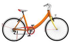 Ladies orange urban sports bike - stock illustration