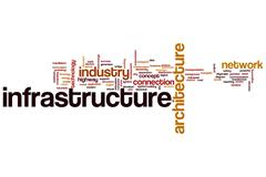 Infrastructure word cloud Stock Illustration