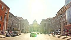 ROME - CIRCA 2014: Saint Peter Cathedral Square View from Street. Stock Footage