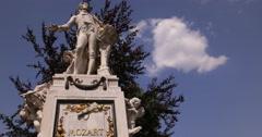 UHD 4K Memorial Mozart Monument Statue Burggarten Vienna Central Park Austria Stock Footage