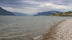 Lake lac du Bourget.French lake of glacial origin Stock Footage