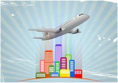 Illustration of airplane with colorful city Stock Illustration
