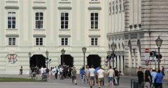 UltraHD 4K Establishing Shot Hofburg Palace Heroes Square People Walk Tourists Stock Footage