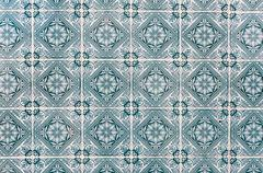 background made of portuguese ceramic tiles called azulejos - stock photo