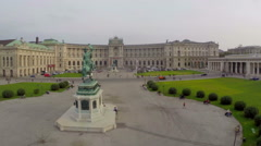 OSCE headquarters in Vienna on Heldenplatz, rider statue, aerial - stock footage