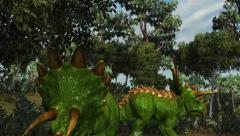 Triceratops in a prehistoric scene - dolly shot - stock footage