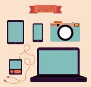 Stock Illustration of gadget design over beige background, vector illustration