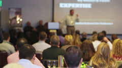 Business conference with speaker blurry Stock Footage