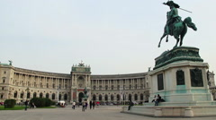 Vienna's park, home of OSCE, building Security of Europe static Stock Footage