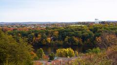 New england scenery overlooking ludlow mass with colorful fall foliage. Stock Photos