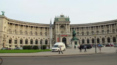Vienna OSCE headquarters, carriage passing by tourists city flag Stock Footage