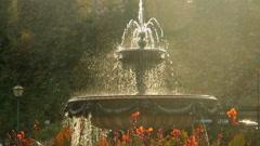 Beautiful fountain in city park, Baroque architecture Vienna sun Stock Footage