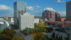 Pan of Churchill Square in downtown Edmonton Alberta from high angle. - stock footage