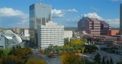 Static shot of Churchill Square in downtown Edmonton on a sunny autumn day. - stock footage