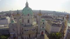 Tourist architecture Vienna, Karlskirche European Baroque aerial Stock Footage