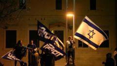 Supporters of Likud Party demonstrate against rivals Stock Footage