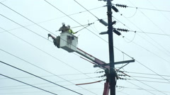Powerlines repair electrical wires Stock Footage