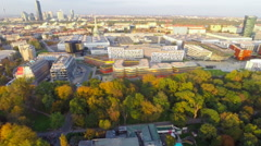 City skyline, Austria Vienna buildings architecture, aerial shot Stock Footage