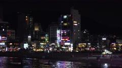 Nighttime Gwangalli Beach Skyline Waterfront Busan South Korea 4K Stock Footage