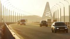 Traffic on new Bugrinsky Bridge, Novosibirsk, Russia Stock Footage