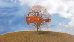 Symbol electric car on a tree, falling leaves Stock Footage