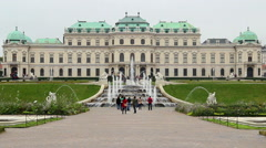 Tourists taking photo, Vienna city attraction site seeing place Stock Footage