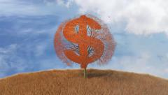 Tree with a symbol of the dollar, falling leaves Arkistovideo