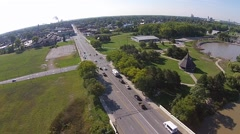 Slow Moving Traffic on City Street Aerial View Stock Footage