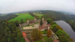 Medieval castle, simple green landscape, old times look, royal Stock Footage