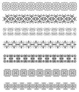 collection of ornamental rule lines in different design styles. vector illust - stock illustration